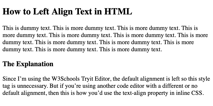 First paragraph left aligned with HTML and inline CSS