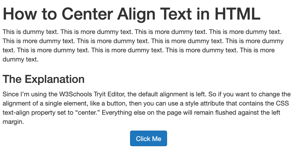 Button text center aligned with HTML and inline CSS