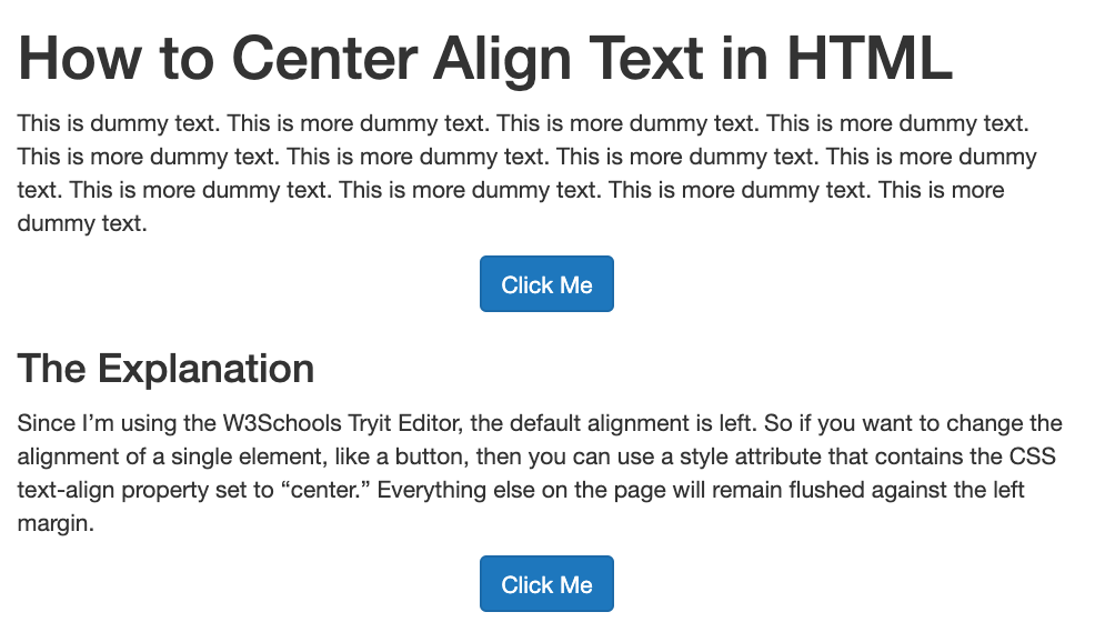 Button text center aligned with HTML and CSS