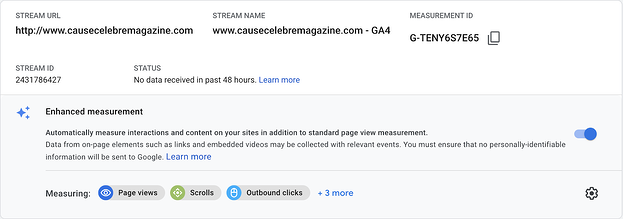Google Analytics 4 enhanced measurements feature.