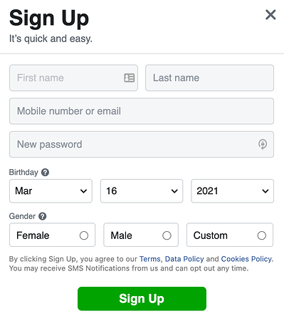 Facebook sign up screen that shows new users how to sign up for Facebook
