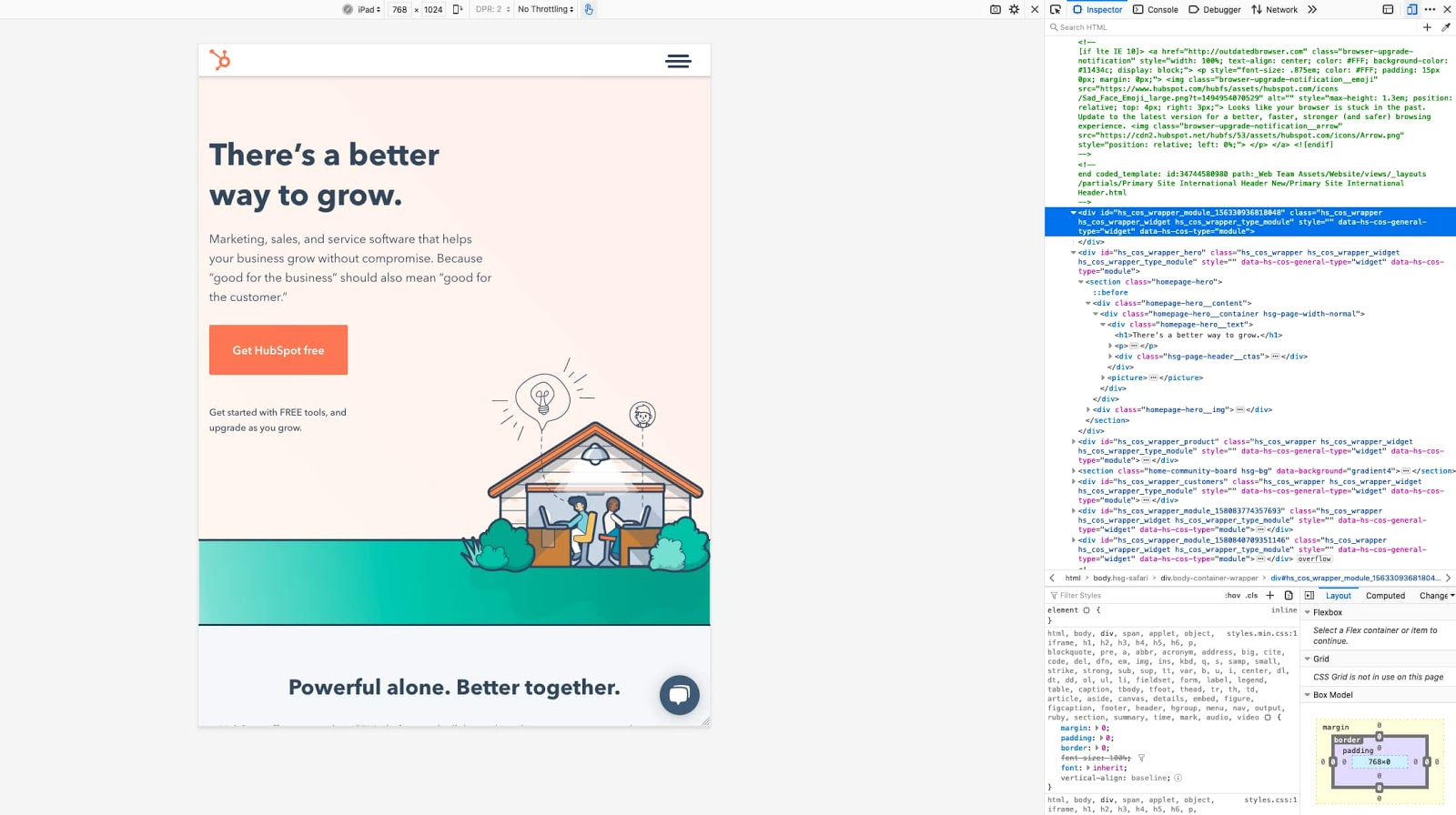 the responsive design editor in firefox inspect element tool