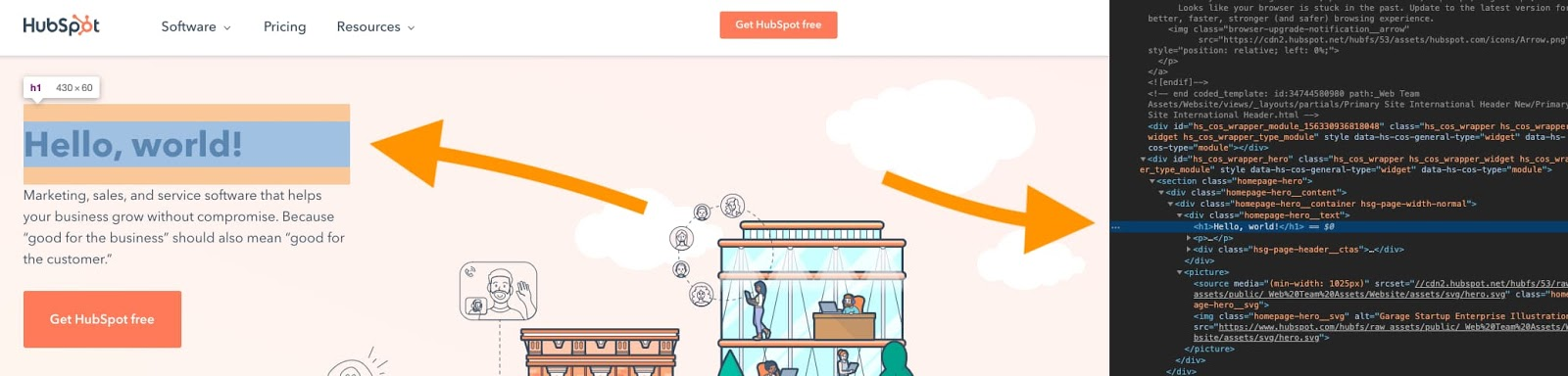 the hubspot homepage with the chrome inspect element tool open