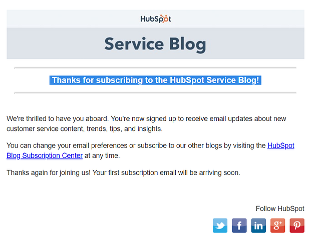 Thank you letter from HubSpot to Customer