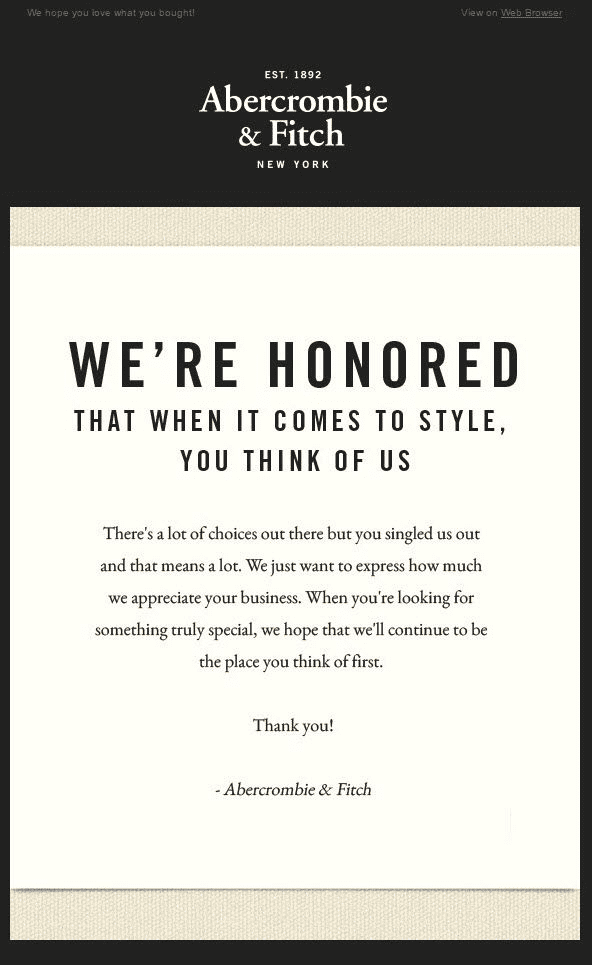 abercrombie fitch thank you letter