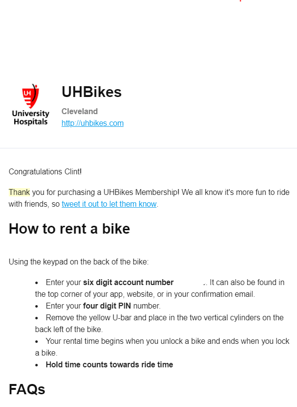 Thank you letter from UH Bikes to Customer