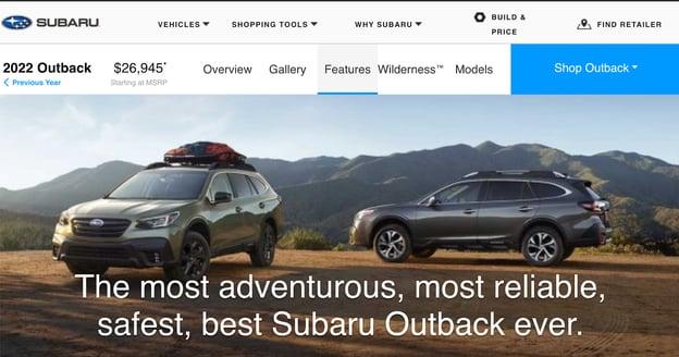 value proposition examples: Subaru