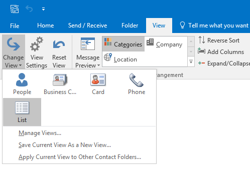 Selecting a category to improve contact management in Outlook