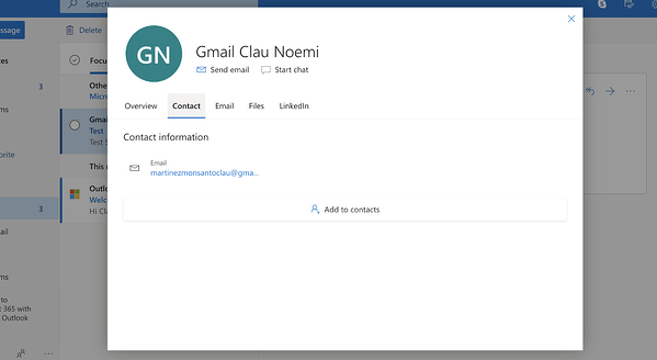 Adding new contact to Outlook from the inbox
