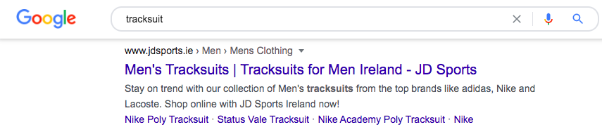 """JD Sports ranks on first page of English SERP for """"tracksuit"""""""