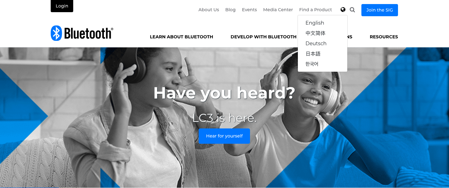 Bluetooth homepage offers visitors five language options