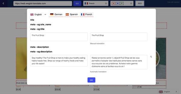 Weglot automatically translates title and meta description to optimize for SEO