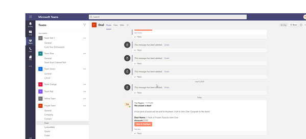 """Microsoft Team notification linked to HubSpot with """"View in HubSpot"""" button"""