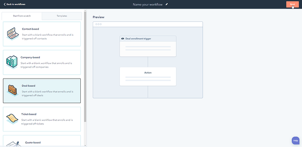 Screen to set up a new Workflow