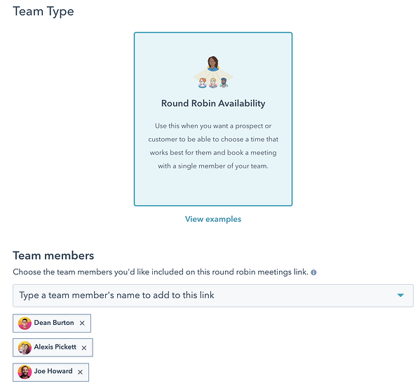 Team type creation screen featuring the Round Robin Availability option.