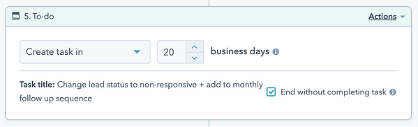 A dialog box setting up automatic task creation in 20 business days