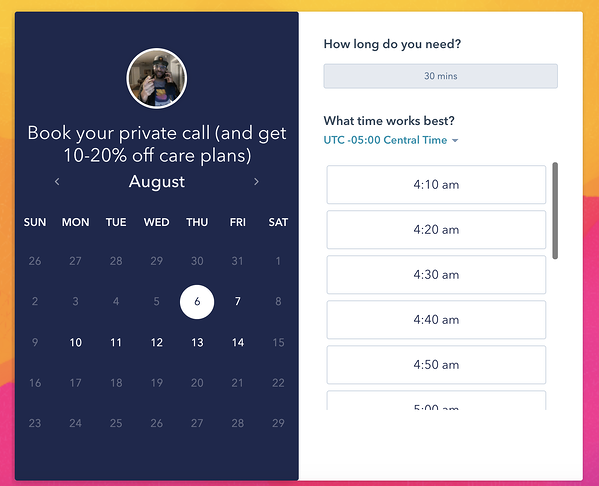 Image showing calendar view of WP Buffs' meetings scheduler with a list of available times