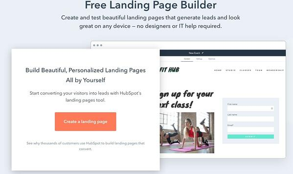HubSpot free landing page builder