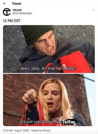 meme marketing example by Telfar