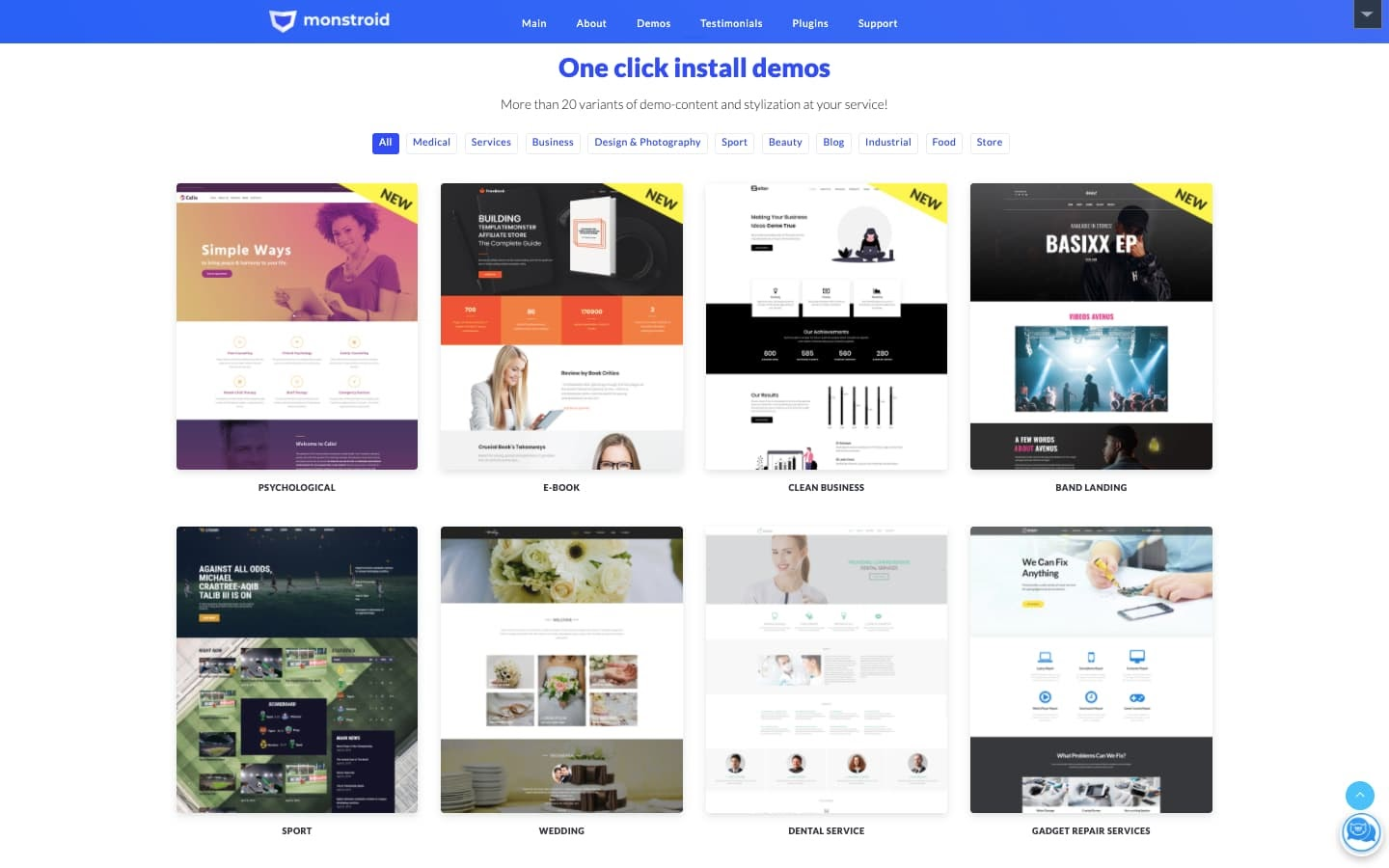 monstroid theme: 50+ one click install demos