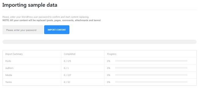 Monstroid Theme Installation: import sample data