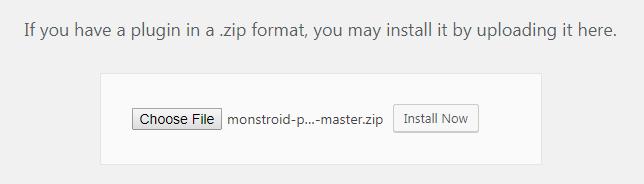 Monstroid Theme Installation: Install Monstroid Wizard plugin