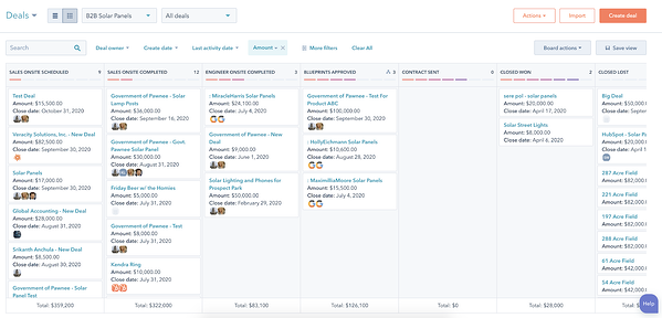A snapshot of HubSpot's Deals workspace with a column for each step in the pipeline