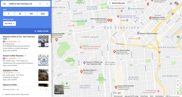 Promoted pins on Google Maps example.