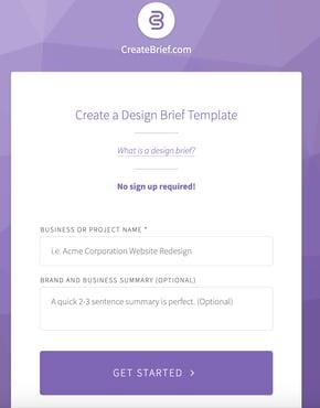CreateBrief design brief generator