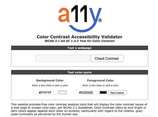 the page for the online web accessibility tool a11y color contrast