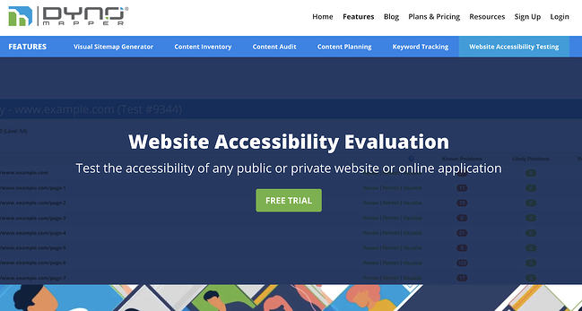 the page for the online web accessibility tool dyno mapper