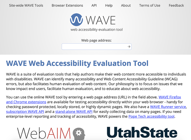 the page for the online web accessibility tool WAVE