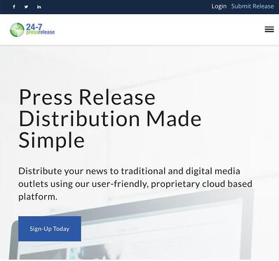 press release distribution service homepage by 24-7 Press Release