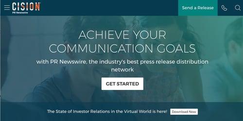 press release distribution service homepage by PR Newswire