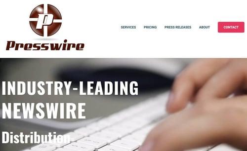press release distribution service homepage by Presswire