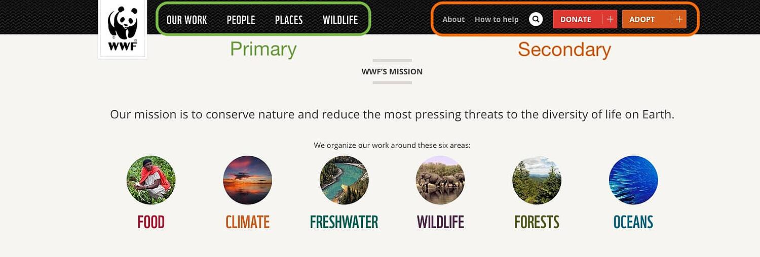 the world wildlife fund homepage with primary and secondary navigation