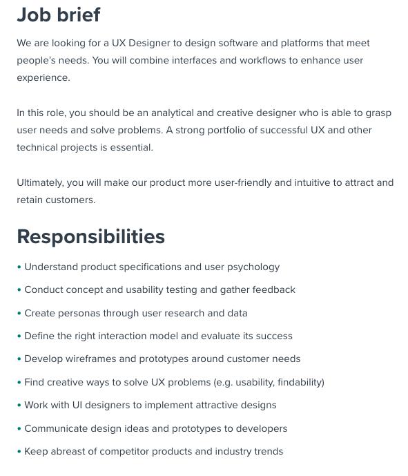 UX Design Job Description