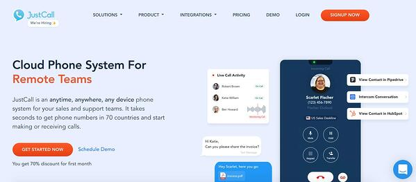 justcall sales dialer software