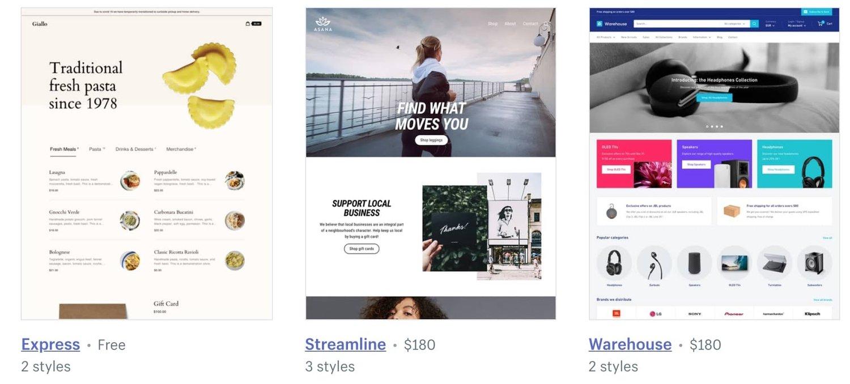 Shopify template demos