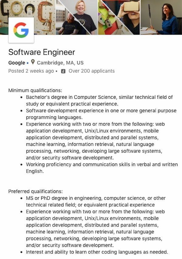 Software Engineer job description for Google