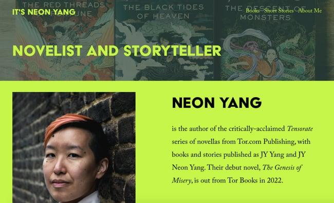 best author website: Neon Yang