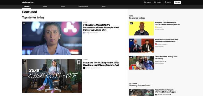 homepage for the video hosting site dailymotion