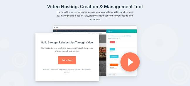 homepage for the video hosting site HubSpot