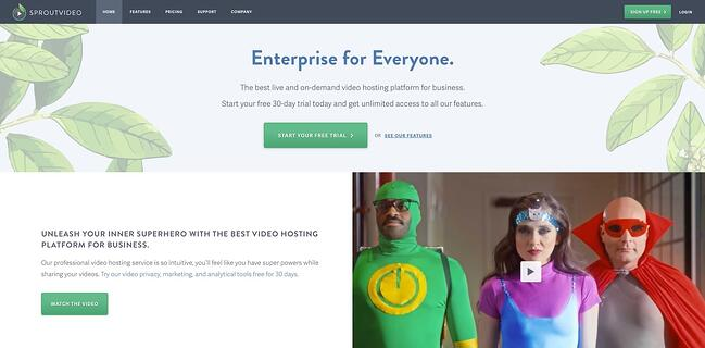 homepage for the video hosting site sproutvideo