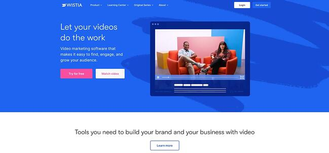 homepage for the video hosting site wistia