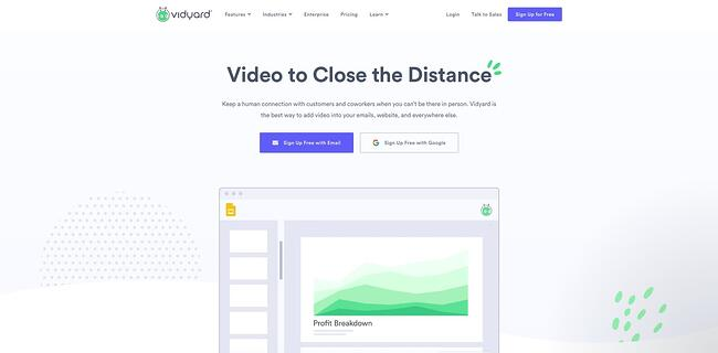 homepage for the video hosting site vidyard