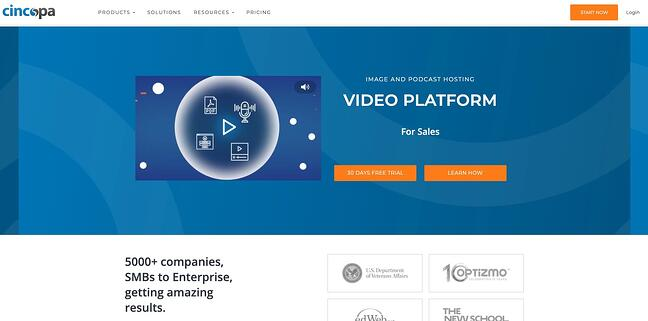 homepage for the video hosting site cincopa