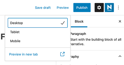Preview the WordPress blog post using the preview button in the top right corner and selecting desktop, tablet, or mobile view