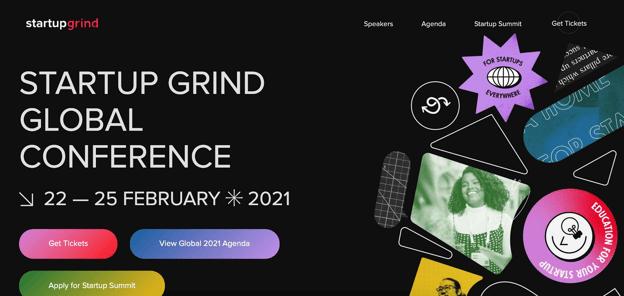The startup grind conference website homepage design