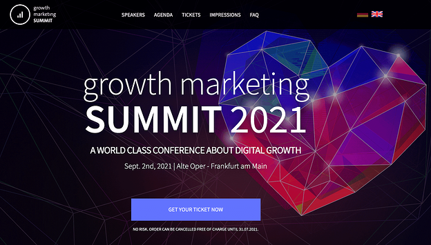 The Growth Marketing Summit conference website homepage design
